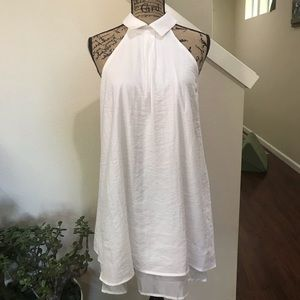 NWT bitlive White sleeveless dress with collar